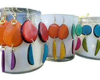 Tagua moon minimalist earrings/ Leaf Dangle earrings/ Tagua long earrings/Colorful statement earrings/ Ecofriendly earrings/ eco gift ideas