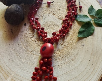Boho Red Tagua necklace/  Tassel necklace/ Rainforest Tribal  necklace/ Eco friendly necklace/Love Seeds necklace