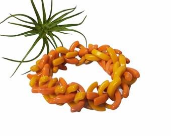 Beaded tagua bracelets/Colorful funky chunky bracelet/Bold bracelets/Mod Statement stretch bracelet/Eco friendly Bracelets/Vintage bracelet