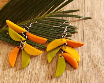 Tagua Leaf earrings/ Long dangle tagua earrings/Colorful Statement tagua earrings/ Cluster earrings/Eco friendly chandellier earrings
