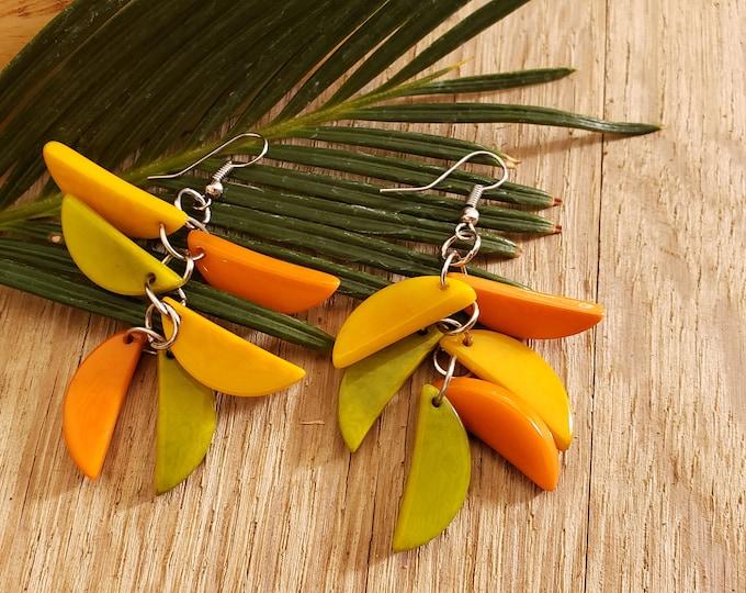 Featured listing image: Tagua Leaf earrings/ Long dangle tagua earrings/Colorful Statement tagua earrings/ Cluster earrings/Eco friendly chandellier earrings