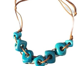 Geometric Tagua Necklace/ Turquoise Statement necklace/ Tagua cubes necklace/Minimalist tagua Jewelry/ Eco friendly jewelry/ by Allie