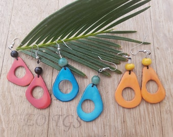 Small hoops tagua Earrings/ Tagua donut earrings/Calamari tagua earrings/Colorful earrings/Everyday happy earrings/Gifts for her