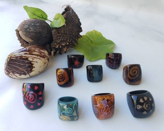 Tagua nut SIZE 6.5 Rings/ Hanpainted rings/ ethnic rings /Rustic nut rings /Batik ethnic tribal rings/Statement bold rings/ecofriendly rings