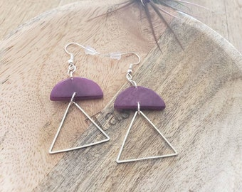 Geometric modern tagua earrings/Statement minimalistic earrings/ Silver tagua earrings/Colorful long dangling triangle earrings
