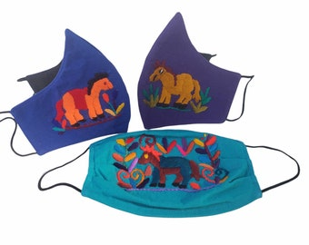 Back to school embroidered face Mask for kids colorful breathable washable 100% cotton with horses