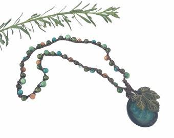 Grapes leaft necklace/ Wine lover gifts/Wrap  grapes bracelet/  Food jewelry/ Boho  Bracelet/Vineyards jewelry/ Nature jewelry leaf