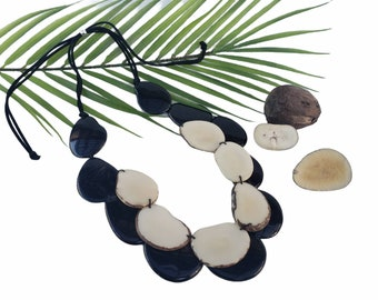 Tagua black and white long layered necklace/ Statement necklace/ Bold and beautiful Turquoise orange necklace/Bicolor layers necklace/