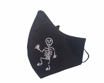 Dia de Los Muertos or Halloween hand embroider skeletons masks, in cotton breathable Washable