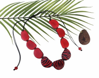 Tiger print statement necklace/Tiger necklace/Animal print tagua necklace/Cougar necklace/ African tribal necklace/Tagua Red necklace
