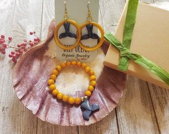 Ocean Tagua jewelry/Marine life jewelry set/Jewels for beach girl/ Mermaid jewelry/Sea Turtle jewelry set/Whale tail jewelry/Beach jewelry/