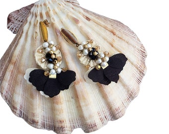 Statement rattan black and white Ooak wire wrapped pearls earrings with flowers  tassels