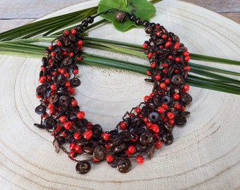 Eco friendly organic necklace/ Boho red necklace/Handmade necklace/Tribal necklace /Red crochet necklace/ Evil eye necklace/ Gifts for her