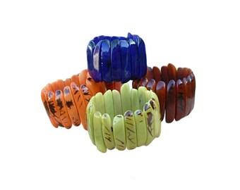 Tagua bracelets/ Colorful Bracelets/ Bold Cuff Bracelets/ Elastic bracelets/  Sticks Bracelets/ Mod chunky bracelets/ Girlfriend gifts ideas