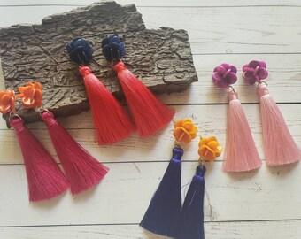 Trendy Tagua tassels earrings/Long tassels earrings /Boho fabric Earrings/ Eco friendly earrings/ Flower tassels mixed media earrings