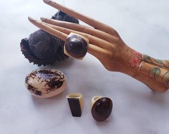 Tagua nut SIZE 6.5 Rings/ Vegetable ivory rings/ /Rustic nut rings /Wood rings/Statement bold rings/ecofriendly rings/Oversized big rings