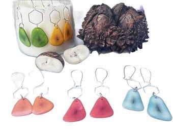 Bee honey comb earrings/ Beehive Tagua Earrings/ Minimalist earrings/ Geometric Exagonal Earrings /Nature ecofriendly jewelry earrings/