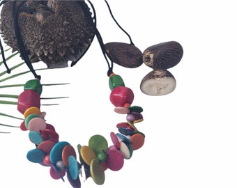 Colorful Chunky necklace /Rainbow Tagua necklace/ Turquoise necklace/Statement necklace/Turquoise necklace set/ Gifts for her/  Eco jewelry