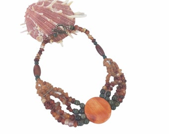 Spiney oyster Jade necklace/ Reversible necklace/ Statement collar necklace/ Handmade necklace/ Gifts for mom/ Anniversary gift ideas