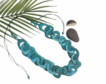Unchained # 1 tagua Turquoise necklace by Allie/ Statement necklace/chunky necklace/handmade jewelry set with earrings