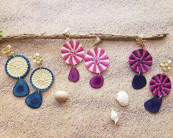Straw tagua circle earrings/Woven Disks earrings/Statement dangle earrings/Big Colorful  earrings/Mixed media earrings/Hemp earrings