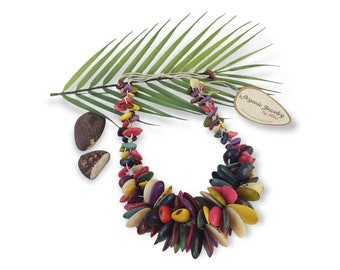 Runaway ready chunky big tagua Islander multicolor necklace/Tropical necklace/OOAK tagua jewelry