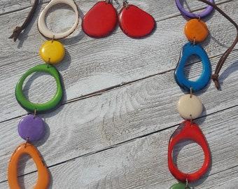 Calamari necklace, ocean colors necklace, long tagua necklace , blue and mint necklace/multicolor/by Allie