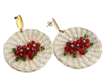 Statement big circles straw wicker earrings tan and red crystal flowers One of a kind jewelry wire wrapped