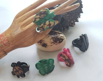 Tagua nut SIZE 8 Big Rings/ Handcarved animals nut rings/ Marble rustic nut rings /Butterfly &turtle rings/Oversized rings/ handcrafted ring