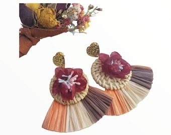 Statement straw rattan OOAK Maxi circle tropical earrings with raffia fan tassels in earthy colors mixed media artsy jewelry