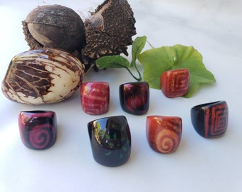 Tagua nut SIZE 6 Rings/ Hanpainted rings/ ethnic rings /Rustic nut rings /Batik ethnic tribal rings/Statement bold rings/ecofriendly rings