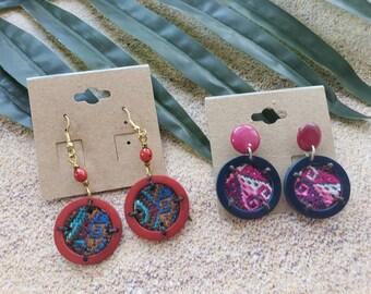 Dream catcher tagua earrings/ Ethnic Andean earrings/ Fabric earrings/ knit earrings/ Tagua multimedia earrings/Bohemian earrings