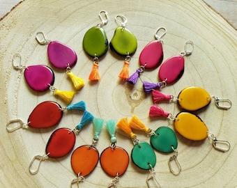 Colorful Tagua & Tassel Earrings / Dangle Drop Earrings/ Statement cute Earrings/Teal green earrings/Bohemian earrings/ Eco jewelry earrings