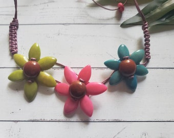 Tagua flowers multicolor necklace or hair band with leather /whimsical floral necklace/Ecofriendly jewelry/Statement boho unique jewelry/