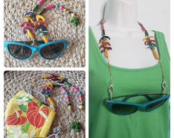 Tropical Tagua Mask and readers holder/Mask keeper/3  in 1 necklace, mask & sunglasses holder lanyard /Unique mask holder/Mask necklace