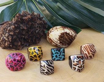 Tagua RINGS size 8.5 / Animal print batik rings/ Wooden big Rings/ Statement Rings/  Bold Rings/ Batik Rings/ Eco jewelry