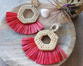Raffia Fan tassels earrings/ Red Tassel earrings/ Rattan  Raffia woven earrings/ Boho earrings/ Wicker earrings/gifts for Mom/Beach earrings