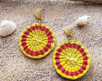 Straw Woven Disks earrings/ Circles Big Statement earrings/Bold earrings/Colorful earrings/ Handmade basketry earrings/Hemp earrings