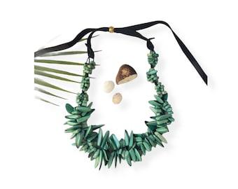 Tagua Chunky aqua necklace/Statement tagua necklace/ Hawaiian necklace/Beach jewelry/ Islander jewelry/Ecofriendly fair beads jewelry