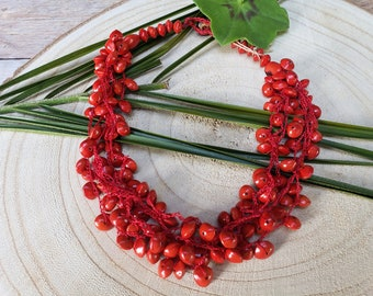 Eco friendly organic necklace/ Boho red necklace/Handmade necklace/Tribal necklace /Red crochet necklace/ Love seed necklace/ Gifts for her