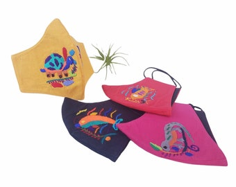 Back to school cotton mask for kids washable breathable with hand embroider marine and reptil animals