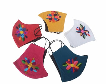 Back to school mask for kids cotton washable breathable with embroider flowers and birds