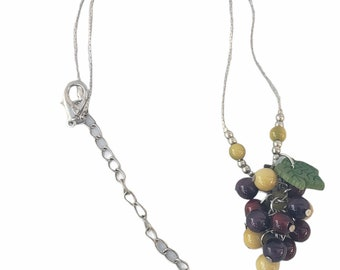 Grapes necklace/ Tagua Grapes/  Grapes cluster pendant/ Grapes bohemian necklace/ Bachellorette Jewelry/ Cool Gifts/ Fruit jewelry/ by Allie