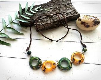 Tagua multicolor rings Choker/ Minimalist choker/ green chain choker necklace/  By ALLIE/Badass Eco friendly jewelry