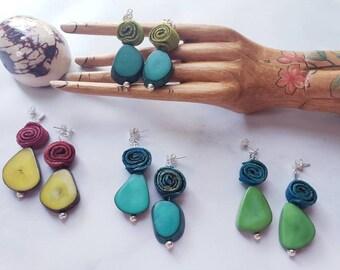 Tagua and sterling silver Earrings / Orange peels earrings/Organic Earrings/Hypoallergenic colorful earrings/Dangling drop earrings/Everyday