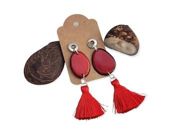 Tagua slices and fluffy tassels medium size earrings/ silk tassels earrings/Colorful tagua dangling statement earrings