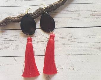Tassels drop tagua earrings/ Trendy long tassel earrings/ Fabric Errings/ Eco friendly Boho Earrings/ Gifts for her/Statement long earrings