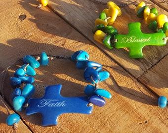 Cross tagua bracelet/christian bracelets/inspirational bracelet/christening gifts/catholic jewelry/spiritual jewelry /many colors/communion