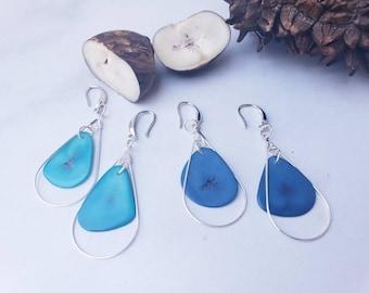 Tagua silver leaf dangle earrings/Drop earrings/ Long minimalist earrings/Ecofriendly handmade earrings /Botanical earrings/