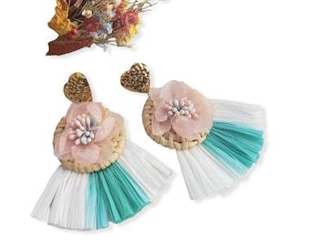 Statement straw rattan OOAK Maxi circle tropical earrings with raffia fan tassels in pastels colors mixed media artsy jewelry